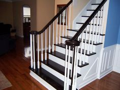 Spindle idea. Ebony stain with white spindles and risers
