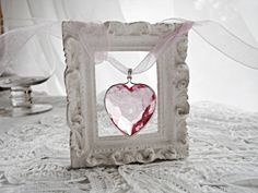 ♥ pink crystal heart in frame. Oh My Heart, Heart Art, Marriage Encounter, Love Symbols, Be My Valentine, Shabby Chic Decor, Pretty In Pink, Heart Shapes, Diy And Crafts