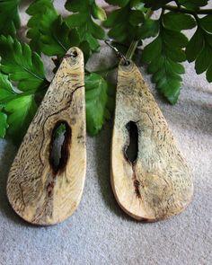 Unique Sindora Burl Exotic Wood Dangle by ExoticWoodJewelryAnd