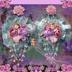 Long Pastel Flower Lace Earrings, Aqua and Antique Rose, Feminine Shabby-Chic Floral Jewelry, Bridal Earrings
