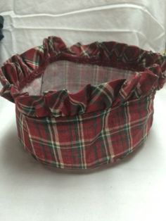Ebay $5.99 (6 inches round would be the Button Basket) Longaberger-Liner-PLaid-Tidings