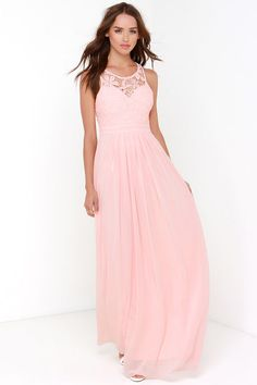 So Far Gown Peach Lace Maxi Dress at Lulus.com! also in gray or navy