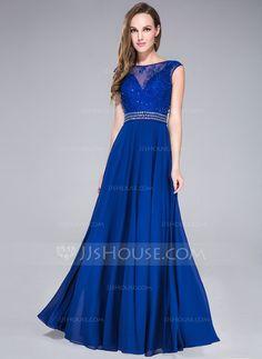 Corte A/Princesa Escote redondo Vestido Chifón Tul Vestido de baile de promoción con Encaje Bordado Lentejuelas (017041108)