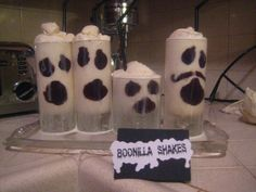 Paint the inside of any clear glass with melted dark chocolate, freeze the glass until the chocolate dries, and fill with vanilla and brandy milkshakes, topped with whipped cream