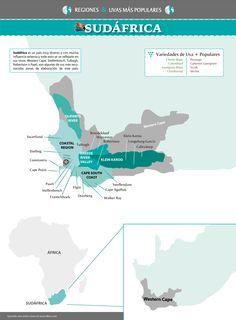 Mapa regiones vitivinícolas de Sudáfrica / Southafrican wine map