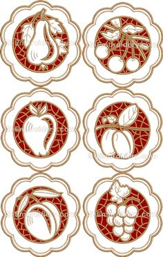 cutwork embroidery | Fruit cutwork lace machine embroidery designs set