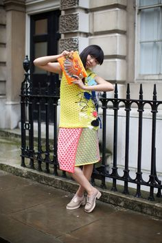 Susie Bubble of Style Bubble rocks a MAWI GLITTERBUG clutch from Spring Summer 2014 collection