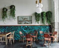 restaurant wall Tejo tiles in Jade color at El Italiano restaurant Dark Interiors, Shop Interiors, Colorful Interiors, Restaurant Seating, Restaurant Design, Cafe Restaurant, 3d Wall Tiles, Pallet Seating, Stools For Kitchen Island