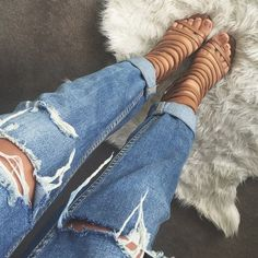 rolled jeans + strappy heels