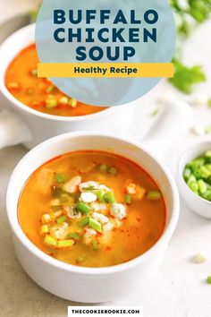 This Skinny Buffalo Chicken Soup recipe has so much flavor! #chickensoup #buffalochicken #healthysoup #skinnyrecipe