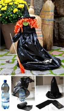 DIY Witch Using Black Bags & Pop Bottle