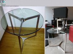 Mesa de apoio com base em aço inox e tampo rotativo, em vidro temperado..... Que lhe parece esta excelente mesa ? https://www.facebook.com/objecta.segunda.mao/photos/a.502677349868970.1073741830.501864669950238/636648599805177/?type=3&theater