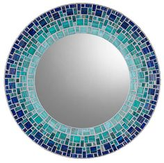 MIRROR DESCRIPTION Handcrafted mosaic mirror featuring high quality three piece construction and original mosaic layout design from mosaic artist