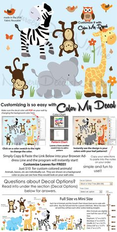 Jungle Animal Wall Decals Jungle Theme Wall by NurseryDecalsNMore, $24.99