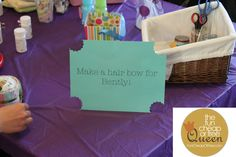 Hair bow making station for baby girl baby shower! Cute idea!!! and also onsie making :) lots of tips for cheap party decorations too!
