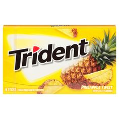 Trident is a hugely popular brand of gum. This refreshing gum comes in a great range of flavours, this is the pineapple twist flavour. There are 14 pieces of gum per pack. Imported from the USA. Bubble Yum, Gum Flavors, Sugar Free Gum, Chewing Gum, Trident, Yummy Drinks, Vegan Gluten Free, Pineapple, Eat