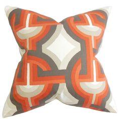 Rineke Geometric Orange Feather Filled 18-inch Throw Pillow