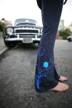 women's Yoga Pants, stretch cotton with songbird- available in S, M, L, XL - Navy and Black-Custom length- WorldWide Shipping on Etsy, $29.99