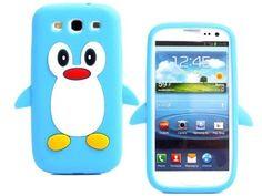 Samsung Galaxy S3 i9300 3D Cartoon Blue Penguin Silicone Case
