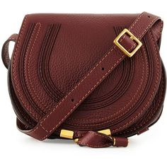 Chloe Marci Small Calf Saddle Bag ($845) ❤ liked on Polyvore featuring bags, handbags, shoulder bags, accessories, purses, bordeaux, chloe handbags, leather shoulder bag, leather handbags and red handbags