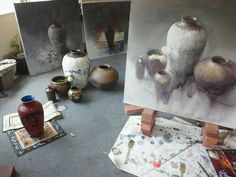 Yuko Nagayama's home and work place, #watercolor #painting #artiststudio, artist acuarela