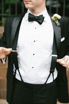 Groom Tuxedo Suspenders Black Bow Tie_Go Bespoke Brown Suit Wedding, Tuxedo Wedding, Wedding Suits, Wedding Attire, Wedding Tuxedos, Groom And Groomsmen Attire, Groom Outfit, Tux With Suspenders, Traje Black Tie