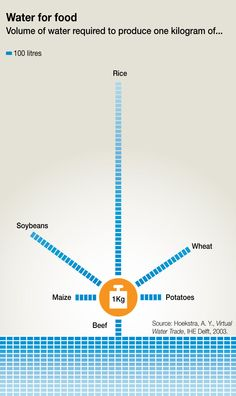 Water for Food - Volume of H20 required to produce...