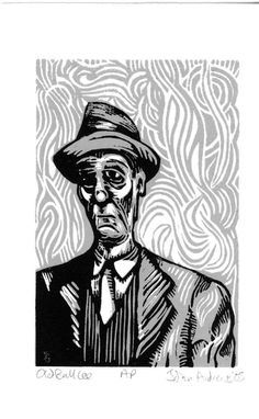 """Old Bull Lee"" (William S. Burroughs) Reduction linocut by John Andrews"