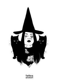 Outline Drawings, Art Drawings, Art Journal Inspiration, Art Inspo, Occult Tattoo, Witch Drawing, Magic Cat, Mood Wallpaper, Drawing Projects