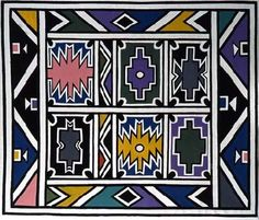 Untitled by Esther Mahlangu - Pigozzi Collection 2014 - Contemporary African Art Collection African Hut, South African Art, Ceramics Projects, Art Projects, Contemporary African Art, Loom Patterns, Beading Patterns, African Design, Textile Prints
