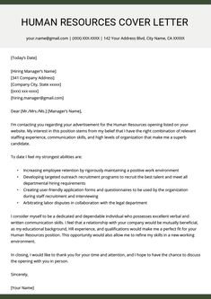 Human Resources (HR) Cover Letter Example | Resume Genius Human Resources Quotes, Human Resources Career, Resources Icon, Hr Resume, Basic Resume, Modern Resume, Visual Resume, Sample Of Resume, Resume Help