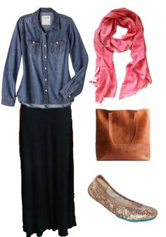 Denim shirt, maxi skirt, bright scarf, @livefashionable tote, @tieks - perfect fall combo!