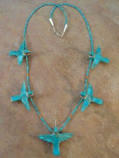 Zuni turquoise, coral, mother of pearl and jet hummingbird fetish necklace