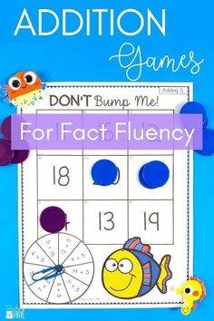 Addition games provide hands-on practice for learning addition strategies. Kids need to know their addition strategies for quick fact recall. Introduce the thinking strategy for practicing count ons, doubles, near doubles, making a ten and then engage your first grade students with fun math games that help improve their fact fluency. Perfect for homeschoolers too! #mathgames #additionstrategies
