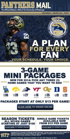 University of Pittsburgh - A Plan for Every Fan - great email promoting mini packs, seasons and single games