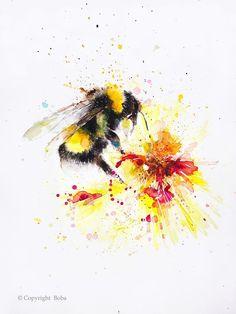 Watercolor Print, Watercolor Paintings, Original Paintings, Original Art, Watercolor Landscape, Watercolours, Landscape Paintings, Watercolor Tattoo, Bee Painting