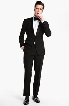 BOSS HUGO BOSS 'Sky/Gala' Trim Fit Wool Tuxedo (Free Next Day Shipping) | Nordstrom