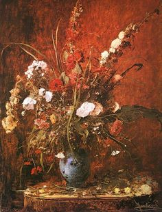 The artwork Flower still life - Mihály Munkácsy we deliver as art print on canvas, poster, plate or finest hand made paper. Art Floral, Flower Of Life, Flower Art, Glass Printing, Still Life Art, Art Studies, Large Flowers, Art Reproductions, Oeuvre D'art