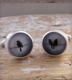 Lone Birds Resin Cufflinks by Fernworks on Scoutmob Shoppe Resin Jewelry, Handmade Jewelry, Plastic Jewelry, Jewellery, Hipster Wedding, Black Magic Woman, Pink Paper, Fashion Accessories, Hipster Accessories