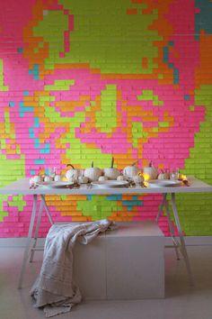 DIY Post-it Note Halloween-Inspired Mural | Poppytalk
