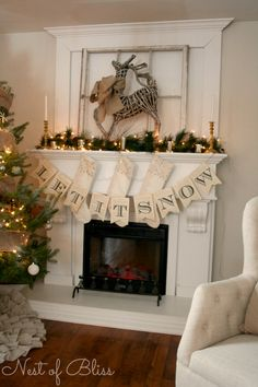 Let is Snow Banner on a Mantle. Christmas Farmhouse Tour 2013. A Nest of Bliss