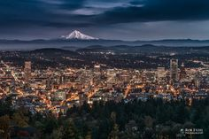 Portland entering Blue Hour while Mount Hood remains visible on the horizon. Rob Etzel Photography