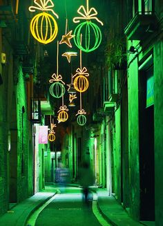 Christmas lights in Barcelona, Catalonia   Europe
