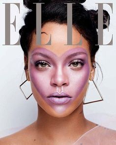 Cover girl: Rihanna graced the cover of the latest edition of ELLE magazine, sporting a heart made with purple makeup in the center of her face which was photographed by Sølve Sundsbø #covergirlmakeup