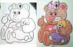 A Collection Of Illustrations From Childrens Coloring Books That Have Been Garbled And Corrupted By Darkly Funny Adults Book Corruptions