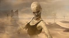 Apocalypse – Zombie Woman deserted Building Ruins