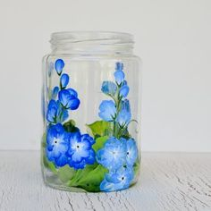 Hand Paint Delphiniums on Glass