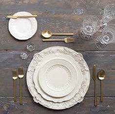 vintage tabletop // white plates, gold flatware, clear glassware