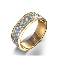 Two Tone Celtic Knot and Milgrain Wedding Ring in Two-tone 14k Yellow & White Gold