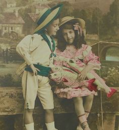 French Antique Postcard - Boy and Girl with Fishing Rods & Fish (Poisson D'Avril / April 1st) by ChicEtChoc on Etsy
